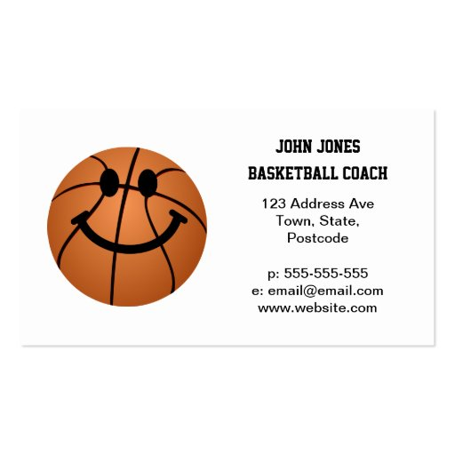 Basketball smiley face business card templates