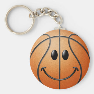 Basketball Smiley Face Key Ring