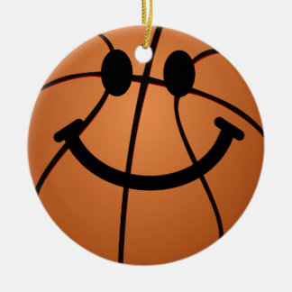 Basketball smiley face round ceramic decoration