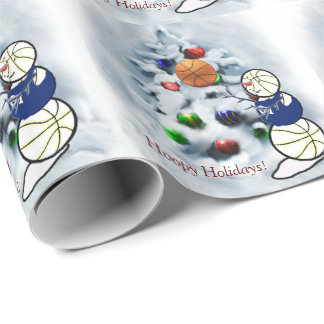 Basketball Snowman Christmas Wrapping Paper