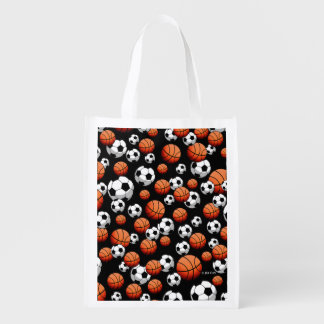 Basketball & Soccer Reusable Grocery Bag