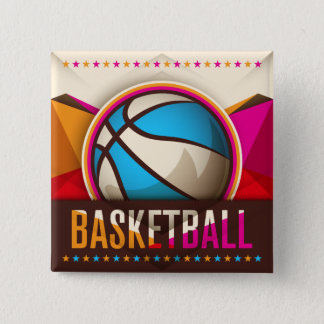 Basketball Sport Ball Game Cool Abstract 15 Cm Square Badge