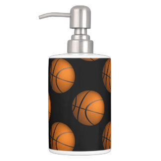 Basketball Sport Bathroom Accessories Soap Dispenser And Toothbrush Holder