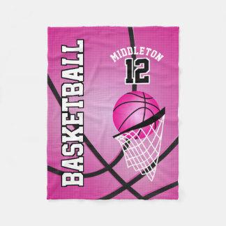 Basketball Sport Design - Pink Fleece Blanket
