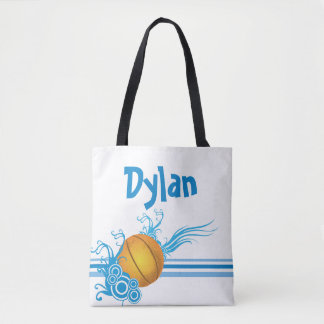 Basketball Sports Ball Game Personalized Name Tote Bag