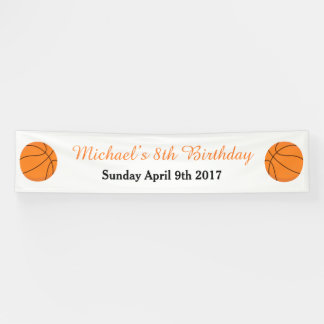 Basketball Sports Orange Birthday Banner