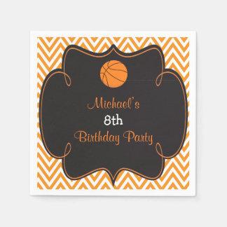 Basketball Sports Orange Birthday Disposable Napkin