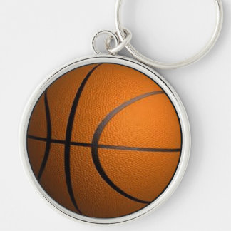 Basketball Sports Silver-Colored Round Key Ring