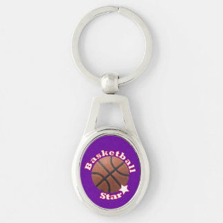 Basketball Star Silver-Colored Oval Key Ring
