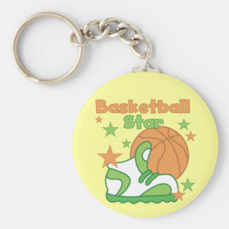 Basketball Star Shoe T-shirts and Gifts Basic Round Button Key Ring