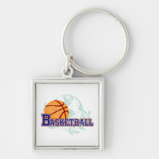 Basketball T-shirts and Gifts Silver-Colored Square Key Ring