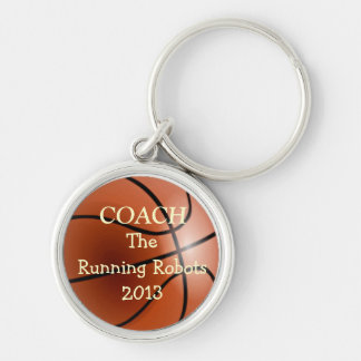 Basketball Team Coach- Personalize It! Silver-Colored Round Key Ring