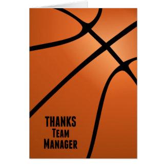 Basketball Thanks Team Manager Customizable Blank Card