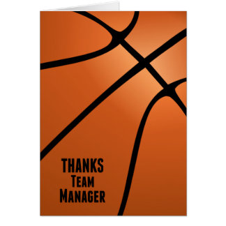 Basketball Thanks Team Manager Customizable Blank Note Card