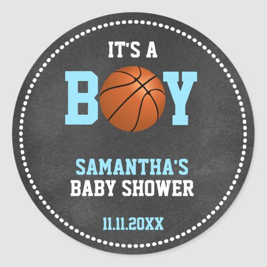 Basketball Theme Baby Shower Chalkboard Boy Round Sticker