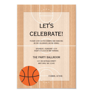 Basketball Themed Bar Mitzvah Reception 9 Cm X 13 Cm Invitation Card
