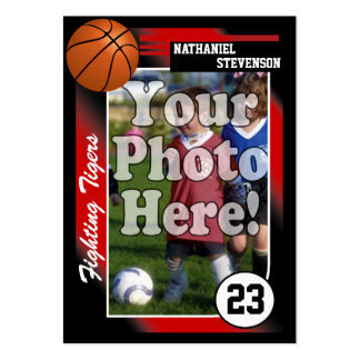Basketball Trading Card Red Lg Business Card Size
