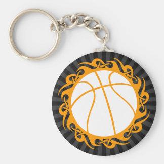basketball. tribal. basic round button key ring