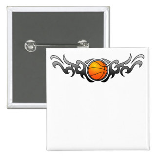 Basketball Tribal Flames Grey Button