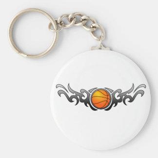 Basketball Tribal Flames Grey Keychain
