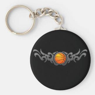 Basketball Tribal Flames Grey Keychain