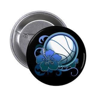Basketball Tropical Flower Blue Button