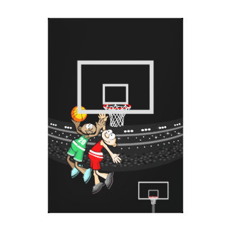 Basketball two children jumping by the ball canvas print