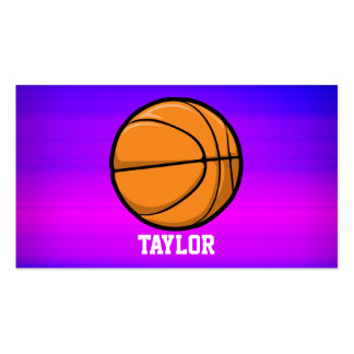 Basketball; Vibrant Violet Blue and Magenta Double-Sided Standard Business Cards (Pack Of 100)