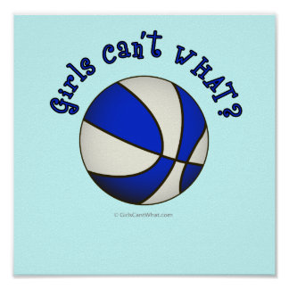Basketball - White/Blue Products Print