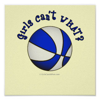 Basketball - White/Blue Products Poster