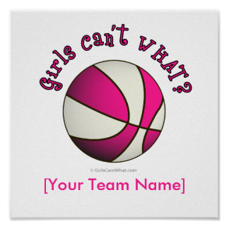 Basketball - White/Pink Poster