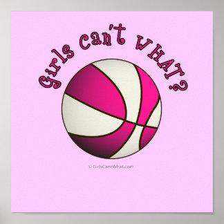 Basketball - White/Pink Poster