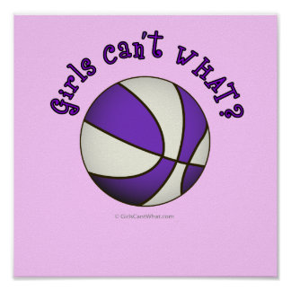 Basketball - White/Purple Poster