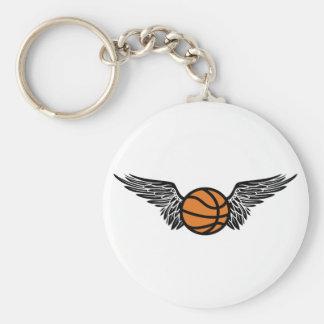 basketball. winged. basic round button key ring