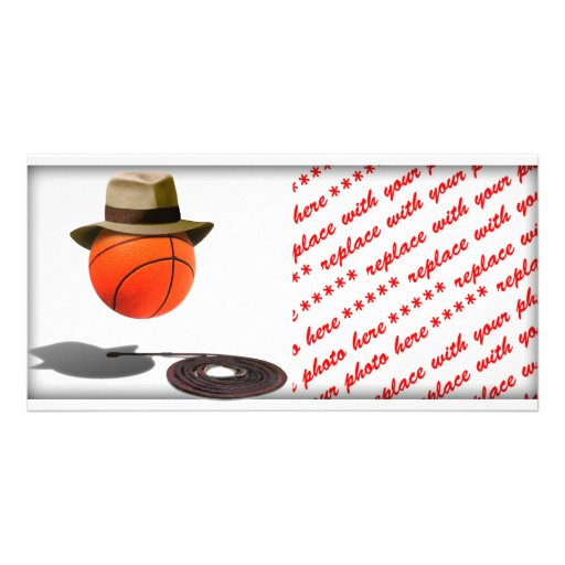 Basketball With Fedora and Whip Photo Greeting Card