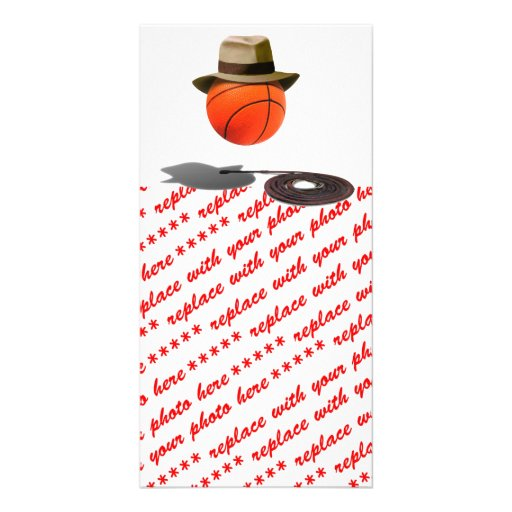 Basketball With Fedora and Whip Customized Photo Card