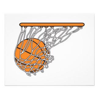 basketball woosh ball in net vector illustration full color flyer