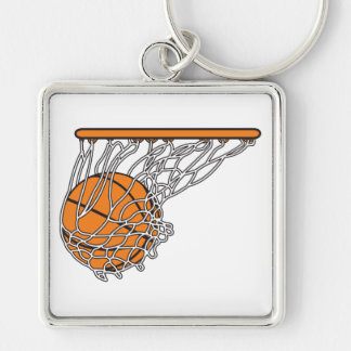 basketball woosh ball in net vector illustration Silver-Colored square key ring