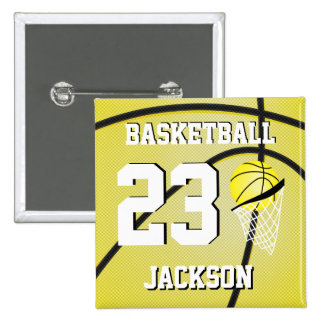 Basketball Yellow and White | Personalize 15 Cm Square Badge