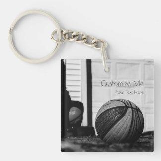 Basketballs Double-Sided Square Acrylic Key Ring