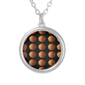 Basketballs_Pendant_Necklace. Silver Plated Necklace