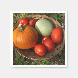 Basketful of Fruits and Vegetables-Thanksgiving Paper Napkin