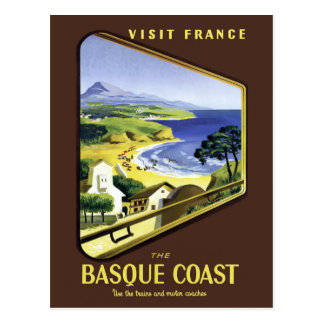 Basque Coast Travel Poster Postcard