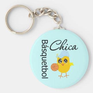 Básquetbol Chica Basic Round Button Key Ring