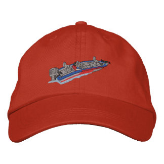 Bass Boat Embroidered Baseball Caps
