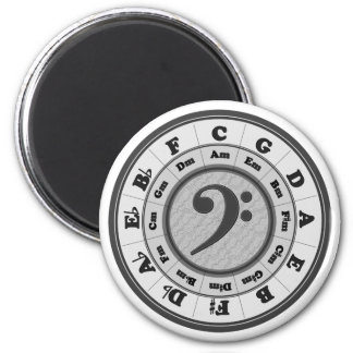 Bass Clef Circle of Fifths 6 Cm Round Magnet