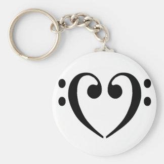 Bass Clef Heart Key Ring