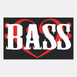 Bass Clef Heart Rectangular Stickers