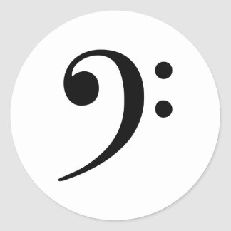 Bass Clef Music Symbol Classic Round Sticker