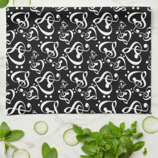 Bass Clef Treble Clef Hearts Music Pattern Towel